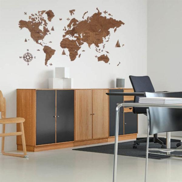 Drewniana mapa świata 2D wzór I