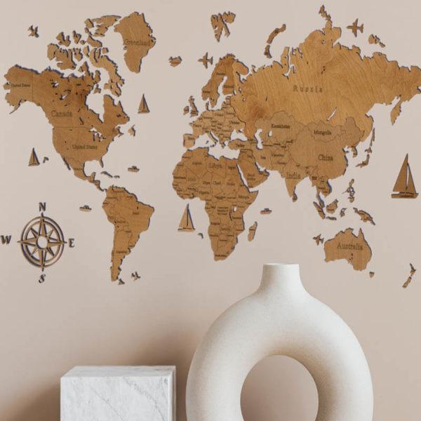Drewniana mapa świata 2D wzór II