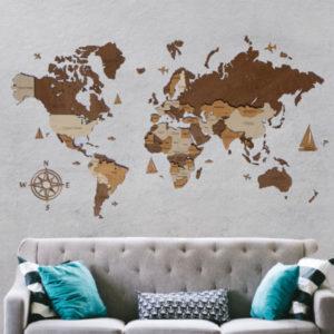 Drewniana mapa świata 3D wzór IV
