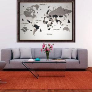Drewniana mapa świata 3D wzór IX