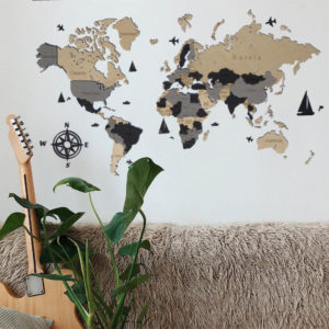 Drewniana mapa świata 3D wzór V