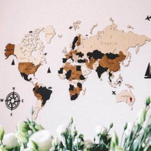 Drewniana mapa świata 3D wzór X